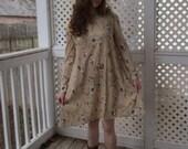Homemade 1970s Long Sleeve Beige Floral Babydoll Dress - Size 16 XL