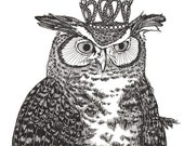 great horned owl wears a glittering crown ORIGINAL ink drawing illustration 6 x 6