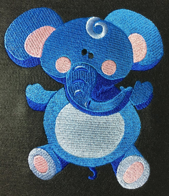 Embroidery Pattern - Cute Blue Elephant