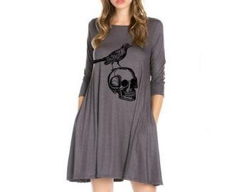 Black skull back applique dress for women