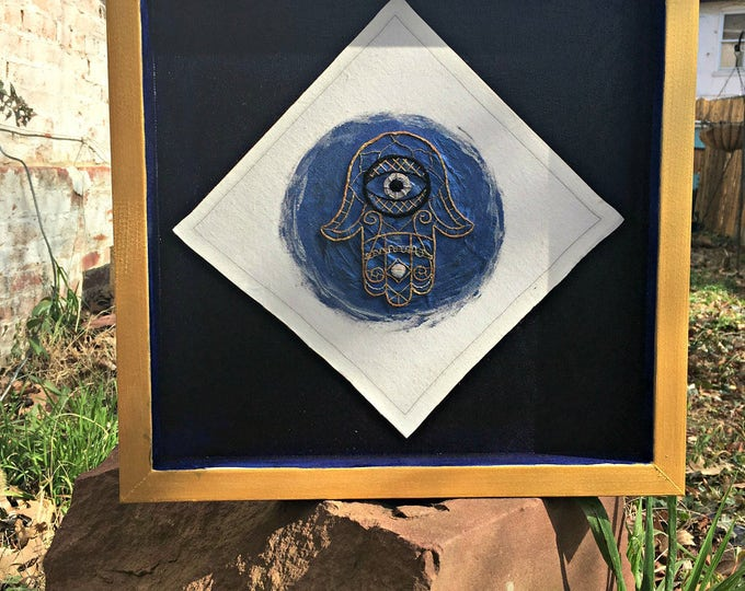 Mixed Media Hamsa in a Shadow Box Frame