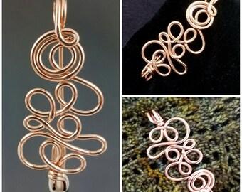 Copper Shawl Pin, Fibula, Sweater Pin, Fancy Kilt Pin, Fastener, Elegant Brooch