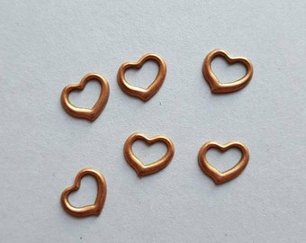 Vintage copper floating heart charms