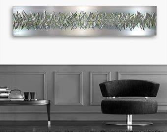 Silver & Green Modern Metal Wall Art, Abstract Wall Accent, Contemporary Wall Sculpture, Home and Office Decor - Green Array by Jon Allen
