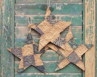 Antique Quilt Star Ornaments, Primitive Stars, Rustic Americana Decor, Patriotic Farmhouse  Style, Light Blue White, set of 3, READY TO SHIP
