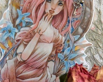 Bookmarks  -  Laminated - Charm - Paper Goods - Handmade - Paper Craft - Anime style - Art Nouveau - Pink Hair - Ball Jointed Doll
