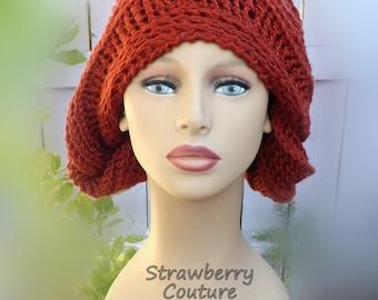 Unusual Gifts,  Unique Gift for Women,  Crochet Beanie Women,  Crochet Hat Womens Hat,  Terra Cotta Hat,  LUNCH LADY Beanie Hat
