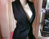 BLACK Waistcoat Corset Jacket  ~~  M/L ~~  Sleeveless BLAZER jacket ~~ very rock metal sexy Halloween bizarre dark ~~ love