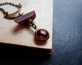 blood moon - crescent moon necklace red aura quartz necklace crystal necklace ruby red charm repurposed vintage repurposed necklace charm