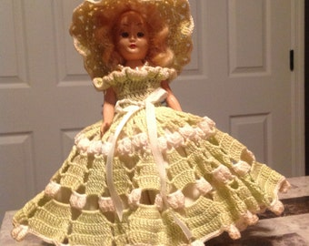 Vintage Sleepy Eyed Maiden with Beautiful Crocheted Dress and Undergarments