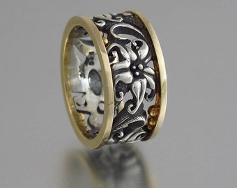FLORAL silver / gold ring Art Nouveau inspired - size 7 Ready to ship other sizes made to order