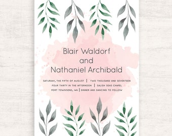 Watercolor Wedding Invitation Suite / Pink and Green wedding / Botanical wedding / Printable invitations / Print at Home / Summer Wedding