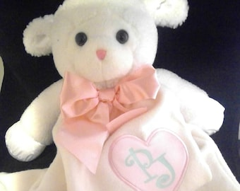 "Personalized ""Lovie"" Cuddly Animals; Baby Vinyl Personalized ""Lovie"" Animal Blankets; Baby Blanket"