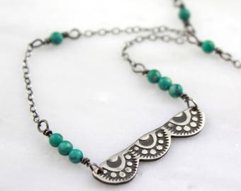 Stamped Scalloped Silver and Turquoise Necklace