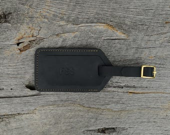 Black Stone Leather Luggage Tag with Free Monogram - Personalized Travel Gift for Man Boyfriend Husband Brother Dad Grad