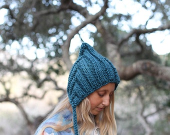 Pixie Hat for Adult Hand Knit in Blue Wool Blend