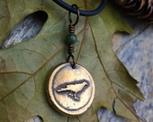 The Raven Wax Seal Charm Bronze Pendant, Connemara Marble, Odin's Raven, Irish Celtic Jewelry, Viking Norse Nordic Druid Pagan, Messenger