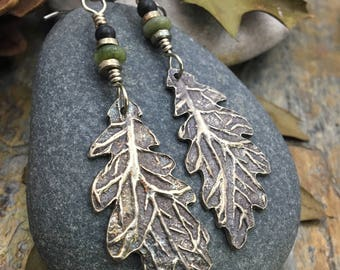Silver Leaf Earrings, Oak Leaf Earrings, Celtic Jewelry, Silver Leaves, Druid Tree Jewelry, Oak Leaf Jewelry, Pagan, Druid, Faerie Oak Tree