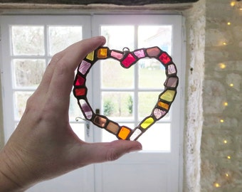 Stained Glass Heart. Colourful Heart. Pink Heart. Unique Heart. Valentine Gift.