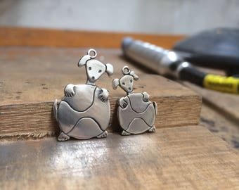 Mother Daughter Pupball Necklace Set - Set of Two Sterling Silver Puppy Necklaces