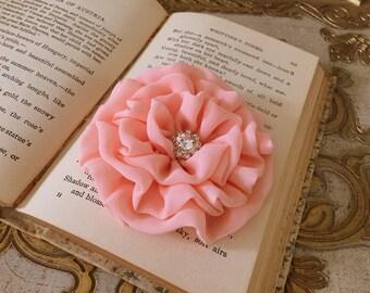 Peach Flower Hair Clip.brooch.pin.headpiece.bridesmaid.Wedding.Corsage.chiffon.fabric flower.hair accessory.chiffon flower.apricot.medium