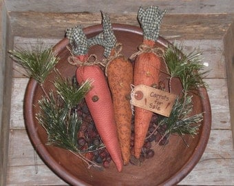 Set of 3 Primitive Rustic Country  Easter Spring Time Bunny Rabbit Carrots Ornies Bowl Fillers Tucks