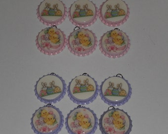 Set of 6 Lilac or Pink Easter Bunny Rabbit Baby Chicks Bottle Cap Charms Mini Tree Ornaments Ornies Party Favors Scrapbooking Gift Ties