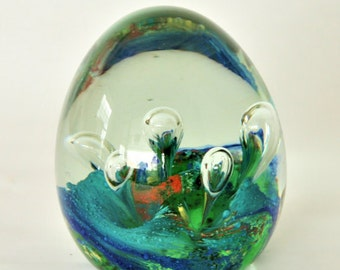 Vintage Art Glass Paperweight in Blue, Green, and Red with Bubbles, Vintage Hand blown Glass Paper Weight, Art Glass