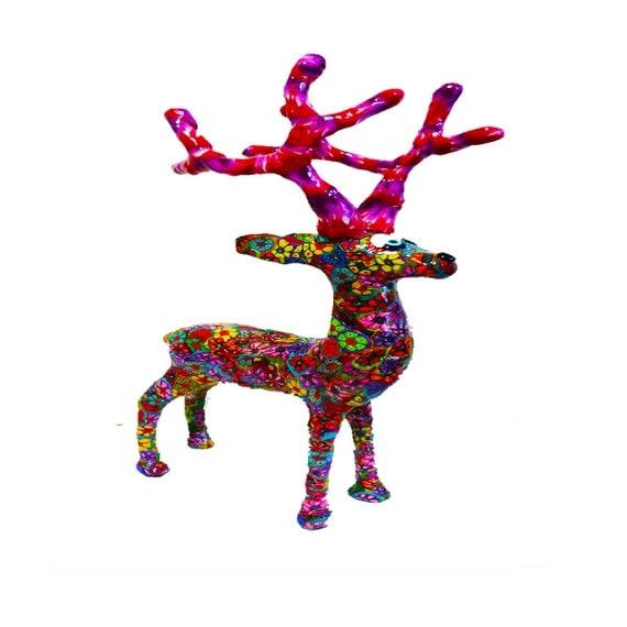 Deer sculpture reindeer figurine gifts christmas home for Home decor reindeer christmas figurine set