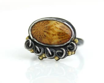 Fossil Coral Ring with French Knot Detail and Gold Dots. US Size 7.