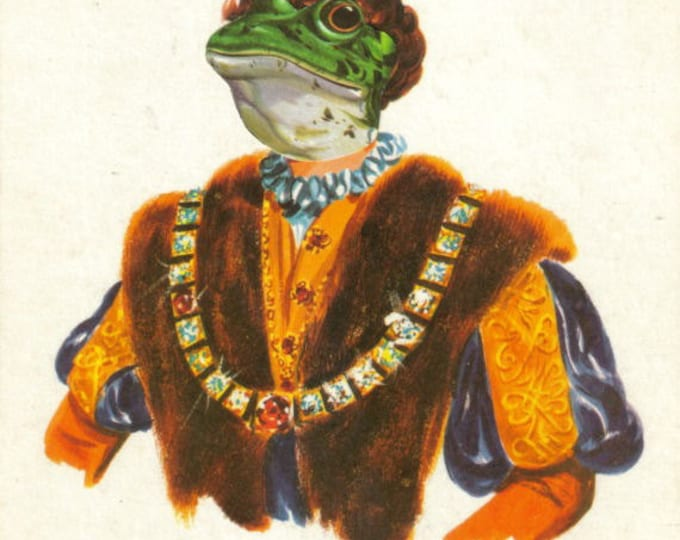 Prince Charming Frog Art Collage, Fairy Tale Artwork