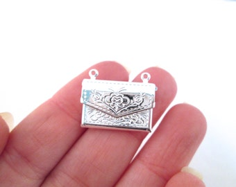 Silver plated letter envelope locket charm pendants, pick your amount, D130