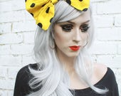 Yellow With Black Polka Dots Hair Bow Vintage 50's Style Hair Clip