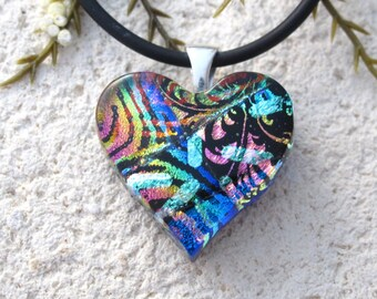 Petite Heart Necklace, Fused Glass Jewelry, Heart Pendant, Dichroic Glass Jewelry, Fused Glass Jewelry,Blue Red Gold Pink,  111116p104