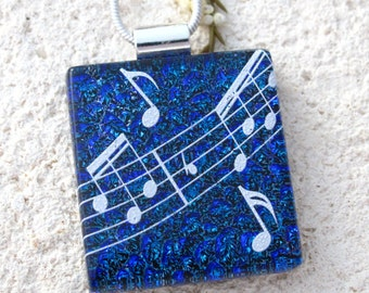Music Necklace, Musical Pendant, Dichroic Jewelry,  Fused Glass Jewelry, Blue Necklace, Dichroic Pendant, Fused Glass Necklace, 111316p2