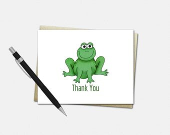 Frog Thank You Card - Frog Party Thank You Card - Frog Thank You Card - Set of 10 - Frog Thank You Cards