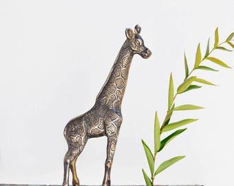 "Vintage Brass Giraffe Figurine - 11"" tall animal figure - safari home decor"