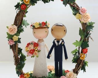 custom cake topper - wood slab & twiggy arch