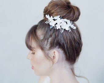 Bridal clay flower comb - Cherry blossom and sparkle hair comb - Style 759 - Made to Order