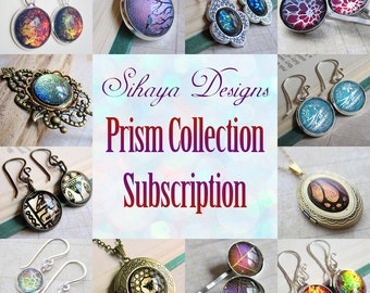 Prism Collection Subscription - THREE MONTHS for USA Subscribers - iridescent earring, pendant, and pin jewelry monthly club