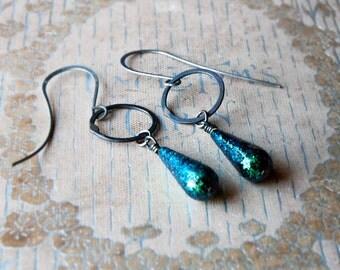 Peacock Metallic Teardrop Earrings / Glittery Earrings / Sparkly Earrings / Emerald Green Earrings / Earthy Green / Peacock Green
