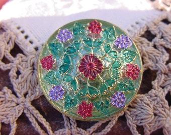 Vaseline Glass Handpainted Floral Czech Glass Button