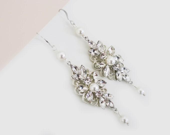 Long Bridal Earrings Pearl Wedding Earrings for Bridesmaids Jewelry Gift Swarovski Pearl Sterling Silver Ear Wire Bride Chandelier Earrings