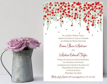 10 Flower Rehearsal Dinner Invitations - Flower Rehersal Invitation - Rehearsal Dinner Invitation - Floral Rehearsal Dinner Invite - Wedding