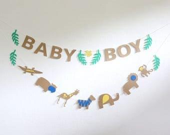 Banner Set Baby Boy and Safari Animals