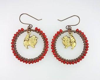 Pomeranian Earrings - Pomeranian Jewelry - Puppy Earrings - Red Dog Earrings - Animal Hoop Earrings - Red Animal Earrings - Animal Lover