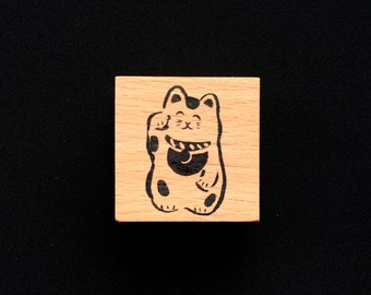 New Year Rubber Stamp - 2017 Rubber Stamp - Lucky Cat  Stamp- Maneki Neko - Traditional Japanese Rubber Stamp