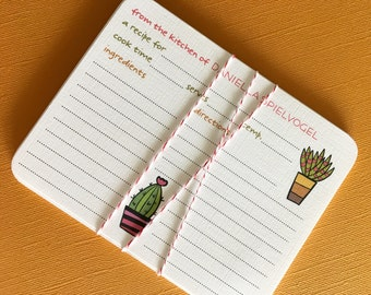 Succulent Pots- Personalized recipe cards, set of 20