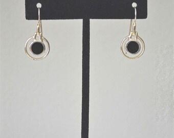 Onyx Earrings, Sterling Silver Earrings, JEZLAINE Earrings, Vintage Silver Earrings, Silver Dangle Earrings, 1970's Earrings