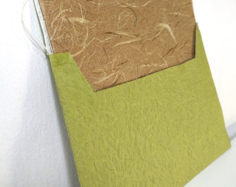 Limited Edition Handsewn Japanese Chiyogami Blank Card & Handmade Envelope - Tree trunk